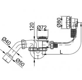 Сифон STYRON STY-536-AKD-83 для ванны (автомат) хромированный 830 мм