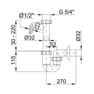 Сифон STYRON STY-638-32-2 трубчатый без водослива с подсоединением к посудомоющей машине подводка  Ø