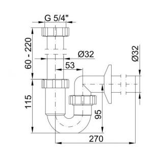 Сифон STYRON STY-638-32-K хромированный трубчатый хромированный подводка  Ø32 мм