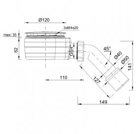 Сифон для поддона STYRON STY-ZA-90-K Ø90 мм c гидрозатвором