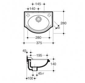 Раковина для ванной подвесная Simas Arcade 37 белая, AR035