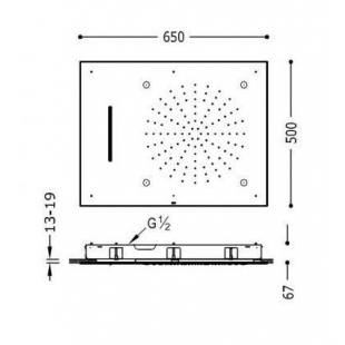 Тропический душ TRES INOX 29997101 хром