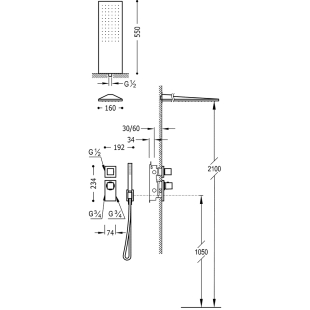 Термостатическая душевая система Tres Block System Colors, 20625202NM