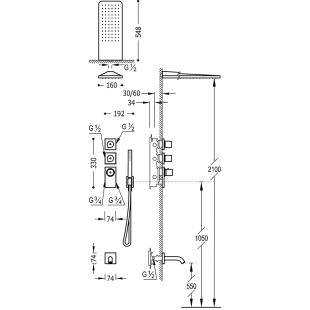 Термостатическая система скрытого монтажа для ванны Tres Block System Colors, 20635301NM