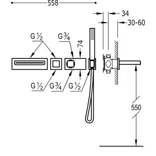 Термостатическая система скрытого монтажа для ванны Tres Block System Colors, 20719201NM