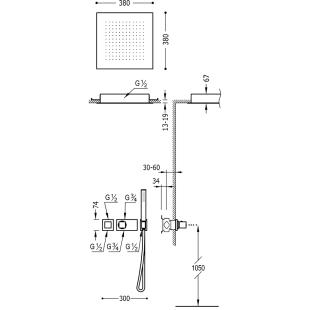 Термостатическая душевая система Tres Block System Colors, 20725204NM