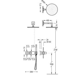Термостатическая душевая система Tres Block System Colors, 20735201NM