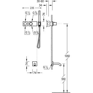 Термостатическая система скрытого монтажа для ванны Tres Block System Colors, 20735208NM