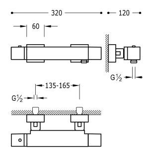 Термостатический смеситель для душа с гарнитуром TRES Cuadro Color, 007164039NM