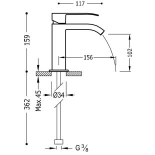 Смеситель для раковины однорычажный TRES Cuadro-Tres, 00610101