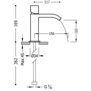 Смеситель для раковины одновентильный TRES Cuadro-Tres, 00610102