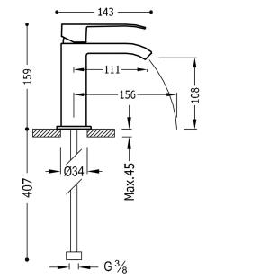Смеситель для раковины однорычажный TRES Cuadro-Tres, 00611001