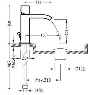 Смеситель для раковины одновентильный TRES Cuadro-Tres, 00611002D