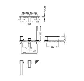Смеситель для ванны врезной на три отверстия TRES Cuadro, 00616105
