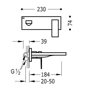 Настенный смеситель для раковины TRES Cuadro-Tres, 00620003
