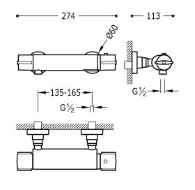 Термостатический смеситель для душа Tres Flat-Tres, 20419601