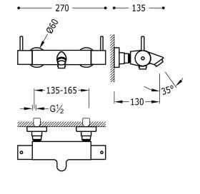 Термостатический смеситель для ванны Tesmostatic Loft-Tres, 09027401