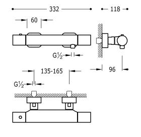 Термостатический смеситель для душа TRES Loft-Tres, 20016401
