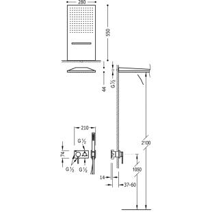 Душевая система Tres 3V, черный матовый, 21027301NM