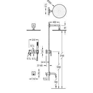 Душевая система с изливом для ванны Tres 3V, черный матовый, 21027313NM