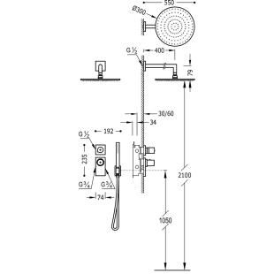 Термостатическая душевая система Tres Block System Project Colors, 20635201NM