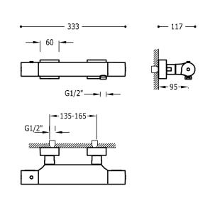 Термостатический смеситель для душа с гарнитуром TRES Project Color, белый матовый, 21116409BM