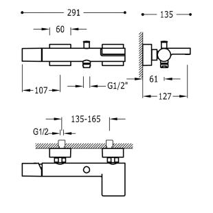 Смеситель для ванны с каскадным изливом и гарнитуром TRES Project Color, черный матовый, 21117001NM