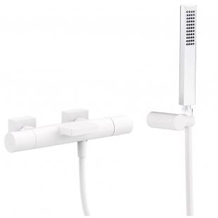 Термостат для ванны с каскадным изливом и гарнитуром TRES Project Color, белый матовый, 21117409BM