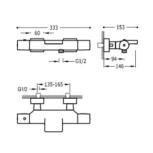 Термостат для ванны с каскадным изливом и гарнитуром TRES Project Color, черный матовый, 21117409NM