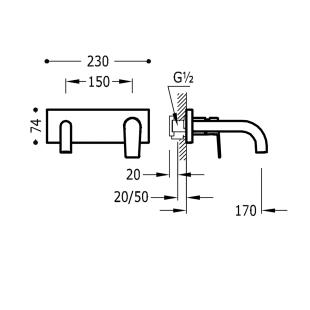 Настенный смеситель для раковины TRES Project Colors, черный матовый, 21120001NM