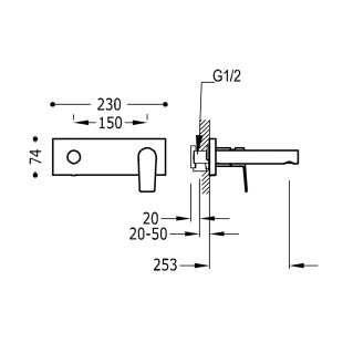 Настенный смеситель для раковины TRES Project Colors, черный матовый, 21120203NM