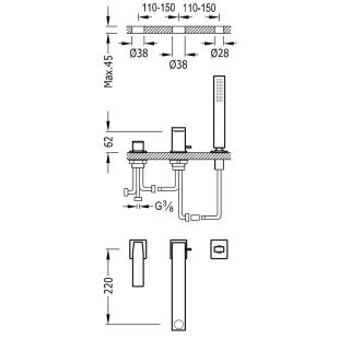 Смеситель для ванны врезной на три отверстия TRES Slim Colors, 20216101NM