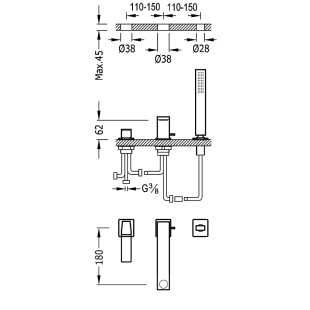 Смеситель для ванны врезной на три отверстия TRES Slim Colors, 20216103NM