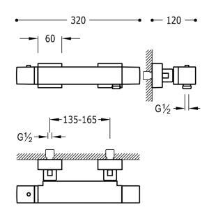Термостатический смеситель для душа с гарнитуром TRES Slim Color, 20216409NM