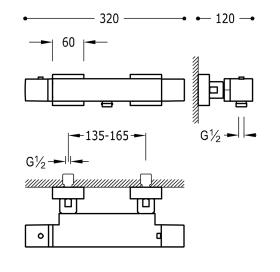 Термостат для ванны с каскадным изливом и гарнитуром TRES Slim Color, 20217409NM