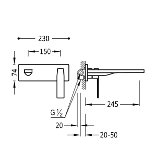 Настенный смеситель для раковины TRES Slim Colors, 20220004NM