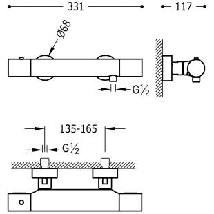 Термостатический смеситель для душа с гарнитуром TRES Study Color, черный матовый, 26116209NM