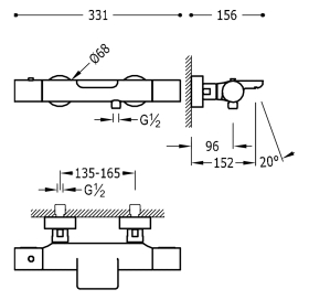 Термостат для ванны с каскадным изливом и гарнитуром TRES Study Color, 26117209AC