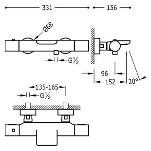 Термостат для ванны с каскадным изливом и гарнитуром TRES Study Color, черный матовый, 26117209NM