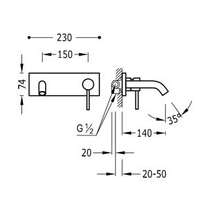Настенный смеситель для раковины TRES Study Colors, черный матовый, 26220050NM
