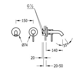 Настенный смеситель для раковины TRES Study Colors, черный матовый, 26220080NM