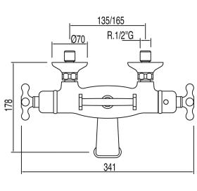 Термостатический смеситель для ванны с гарнитуром TRES Monoclasic, 03217609LV