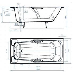 Ванна чугунная прямоугольная Универсал «Нега» 150x70 с ножками