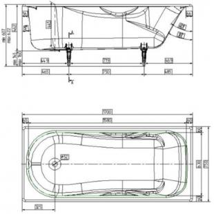 Ванна чугунная прямоугольная Универсал «Сибирячка» 170x75 с ножками