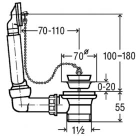 Сифон трубный VIEGA для мойки, без отвода, с пробкой на цепочке, пластик