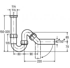 Сифон трубный VIEGA для мойки / раковины, 1,1/4x40