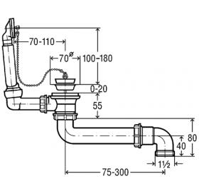 Сифон трубный VIEGA для мойки, с отводом, с пробкой на цепочке, пластик