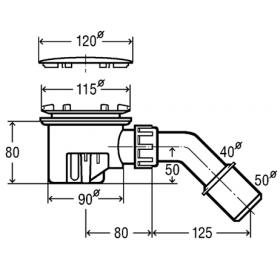 Сифон для душевого поддона VIEGA TEMPOPLEX, с отводом 45 градусов