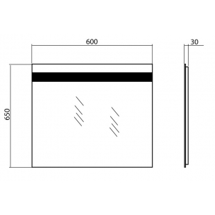 Зеркало AQUA RODOS Элит 60 см универсальное с подсветкой, АР0002699