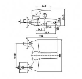 Смеситель для ванны Aqua Rodos, HC0000213